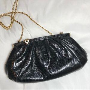 Vintage Judith Leiber Black Embossed Leather Bag